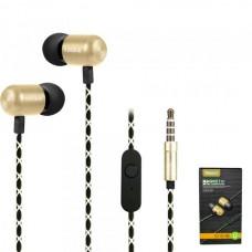 Наушники внутриканальные Yookie YK540 (золото) с микрофоном и кнопкой ответа