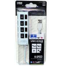 USB-HUB, 4-port провод неразъемный с кнопкой вкл/выкл белый