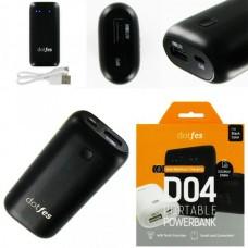 Аккумулятор внешний (Power Bank) dotfes D04-5 (USB выход 2,1A) 5000mA, черный