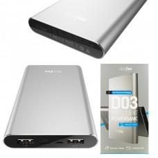 Аккумулятор внешний 10000mA DOTFES D03 (2 USB выхода 1A/2,4A)