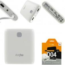 Аккумулятор внешний 10000mA DOTFES D04-10 (2 USB выхода 1A/2,1A) белый + фонарик