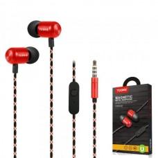 Наушники внутриканальные Yookie YK540 (красный) с микрофоном и кнопкой ответа