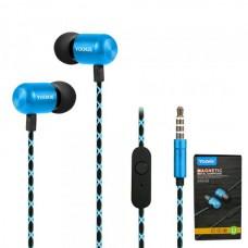 Наушники внутриканальные Yookie YK540 (голубой) с микрофоном и кнопкой ответа