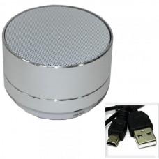 Колонки портативные универсальные A10 (BLUETOOTH, Micro SD, ПОДСВЕТКА) серебро