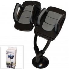 Автодержатель для телефона №159 на стекло (длинная гибкая нога, зажим) черный 2 в 1