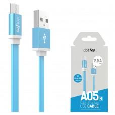 USB кабель USB-micro USB dotfes A05M голубой (1м)