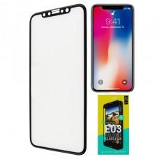 Защитное стекло iPhone X черное 3D dotfes E03