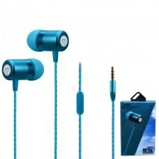 Наушники внутриканальные Yookie Y611 (голубой) с микрофоном и кнопкой ответа