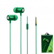 Наушники внутриканальные Yookie Y611 (зеленый) с микрофоном и кнопкой ответа