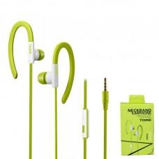Наушники внутриканальные Yookie YK220 (зеленый) с микрофоном и кнопкой ответа