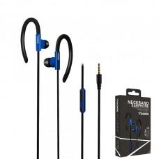 Наушники внутриканальные Yookie YK220 (черный/синий) с микрофоном и кнопкой ответа