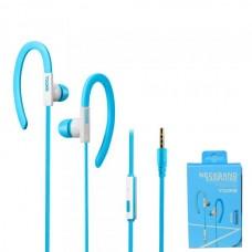 Наушники внутриканальные Yookie YK220 (голубой) с микрофоном и кнопкой ответа