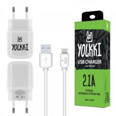 СЗУ micro USB 2,1A (провод разъемный) YOLKKI CM211-WHT белый