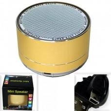 Колонка портативная A10 (BLUETOOTH, Micro SD, ПОДСВЕТКА) золото