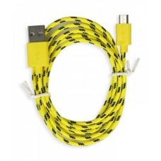 USB Кабель Micro USB в оплетке (желтый с зеленым)