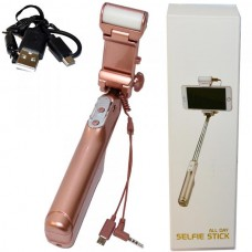 МОНОПОД для селфи с кабелем 3,5 ADYSS-A6 розовый (зеркало + вспышка)